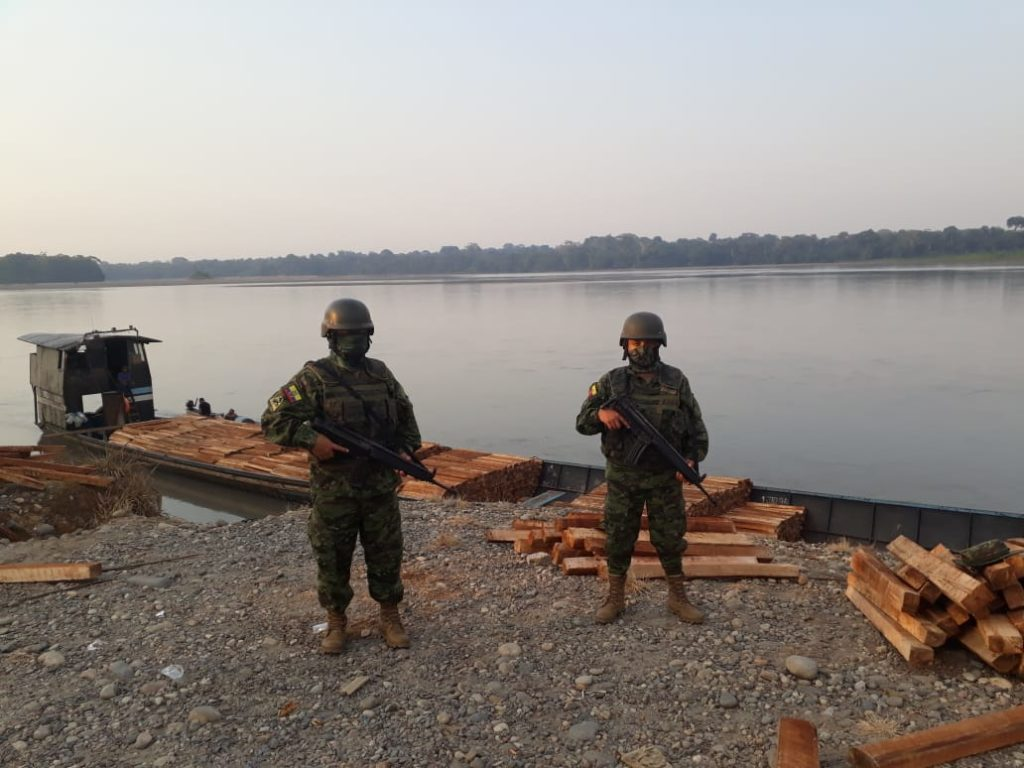 Load of Balsa wood seized on the Rio Napo in Sucumbios